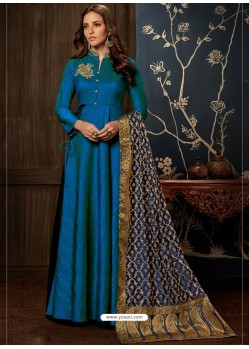 Tealblue Art Silk Hand Worked Designer Gown Style Suit