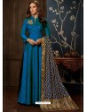 Tealblue Art Silk Hand Worked Designer Gown Style Suit
