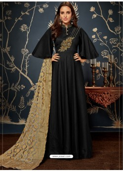 Black Art Silk Hand Worked Designer Gown Style Suit