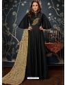 Black Art Silk Hand Worked Designer Gown Style Suit