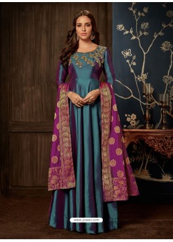 Teal Art Silk Hand Worked Designer Gown Style Suit