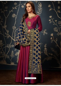 Wine Art Silk Hand Worked Designer Gown Style Suit