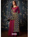Wine Art Silk Hand Worked Designer Gown Style Suit