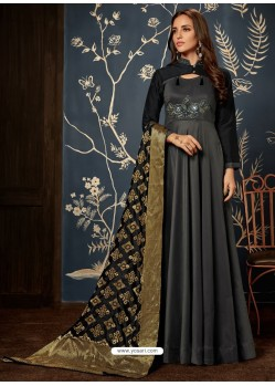 Carbon Art Silk Hand Worked Designer Gown Style Suit