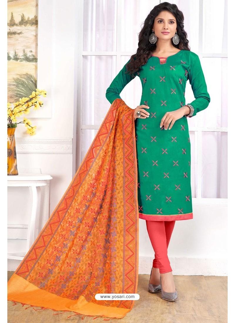 c552c5a2db Dark Green Cotton Embroidered Straight Suit With Banarasi Dupatta