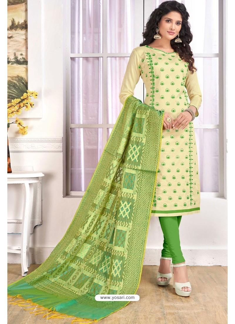 c02c1e0e0e Buy Cream Cotton Embroidered Straight Suit With Banarasi Dupatta ...