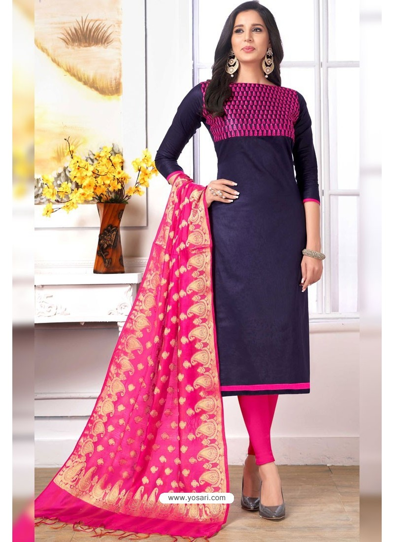 202c5c0d06 Buy Navy Blue Cotton Embroidered Straight Suit With Banarasi Dupatta ...