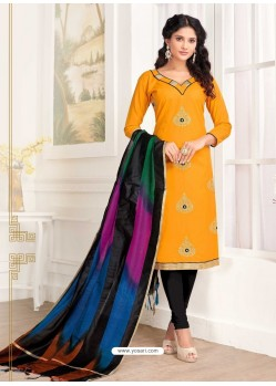 Yellow Cotton Fancy Embroidered Straight Suit