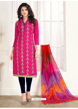 Fuchsia Cotton Fancy Embroidered Straight Suit
