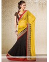 Black And Yellow Faux Georgette Lehenga Saree