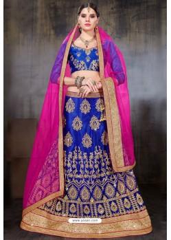 Royal Blue Net Embroidered Designer Lehenga Choli