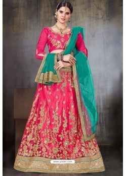 Fuchsia Net Embroidered Designer Lehenga Choli