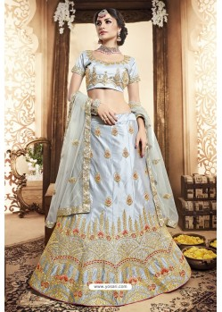 Silver Silk Zari Embroidered Designer Lehenga Choli