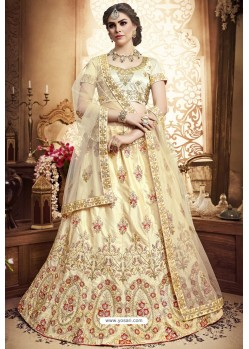 Beige Silk Zari Embroidered Designer Lehenga Choli