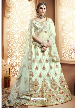 Sea Green Silk Zari Embroidered Designer Lehenga Choli