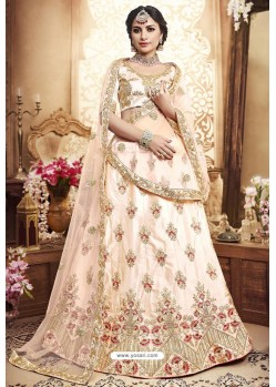 Off White Silk Zari Embroidered Designer Lehenga Choli