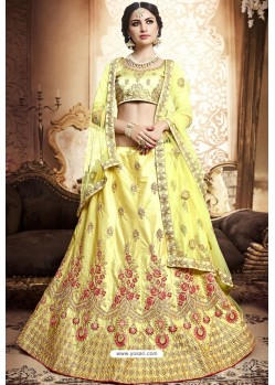 Yellow Silk Zari Embroidered Designer Lehenga Choli