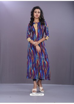 Multi Colour Rayon Printed Readymade Kurti