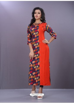 Tomato Red And Multi Colour Rayon Printed Readymade Kurti