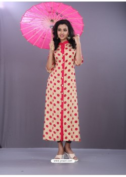 Light Beige And Pink Rayon Printed Readymade Kurti