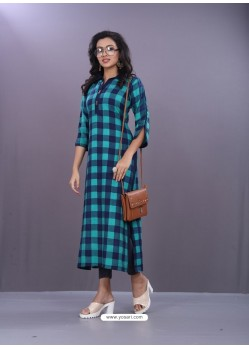 Firozi And Navy Rayon Printed Readymade Kurti