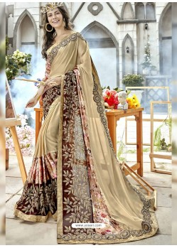 Golden Georgette Heavy Embroidered Party Wear Saree