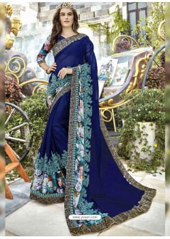Navy Blue Georgette Heavy Embroidered Party Wear Saree