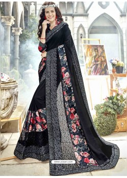 Black Georgette Heavy Embroidered Party Wear Saree