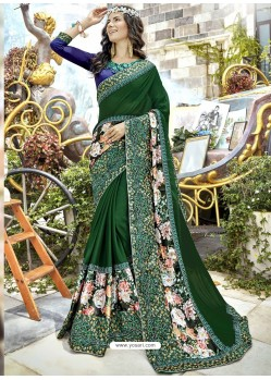 Dark Green Georgette Heavy Embroidered Party Wear Saree