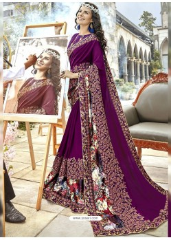 Purple Georgette Heavy Embroidered Party Wear Saree
