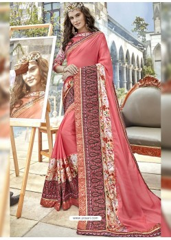 Peach Georgette Heavy Embroidered Party Wear Saree