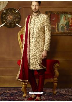 Cream And Maroon Art Banarasi Silk Embroidered Designer Sherwani