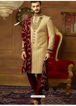 Beige And Maroon Art Banarasi Silk Embroidered Designer Sherwani