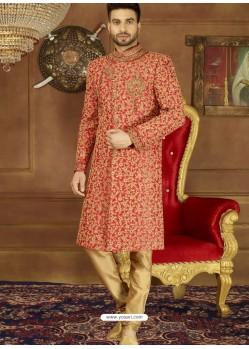 Red Art Banarasi Silk Embroidered Designer Sherwani
