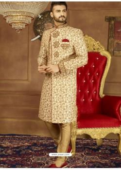 Decent Beige Art Banarasi Silk Embroidered Designer Sherwani