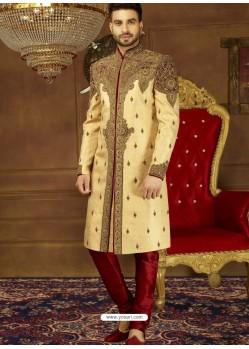 Perfect Light Beige Jaquard Silk Brocade Embroidered Designer Sherwani