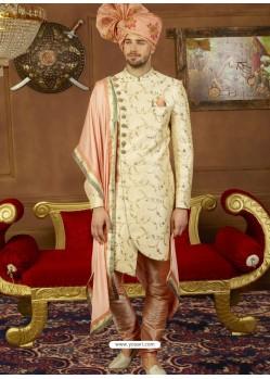 Charming Cream And Peach Art Banarasi Silk Embroidered Designer Sherwani
