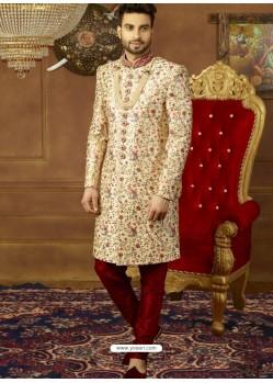 Admirable Light Beige Art Banarasi Silk Embroidered Designer Sherwani