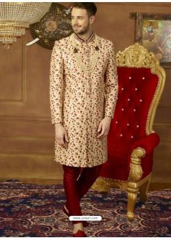 Light Beige And Maroon Art Banarasi Silk Embroidered Designer Sherwani