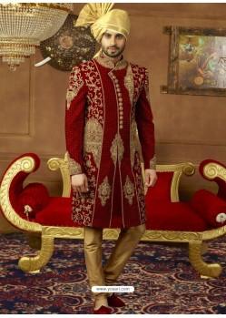 Maroon Velvet Embroidered Designer Sherwani