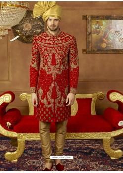 Red Velvet Embroidered Designer Sherwani