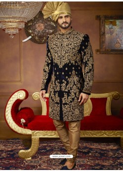 Navy Blue Velvet Embroidered Designer Sherwani