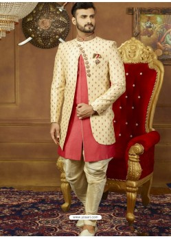 AttractiveCream And Light Red Art Banarasi Silk Embroidered Designer Sherwani