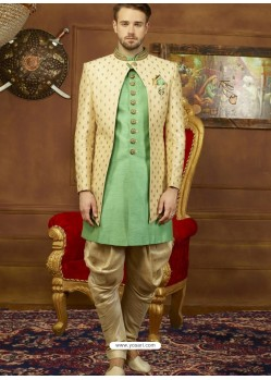 Awesome Cream And Green Art Banarasi Silk Embroidered Designer Sherwani