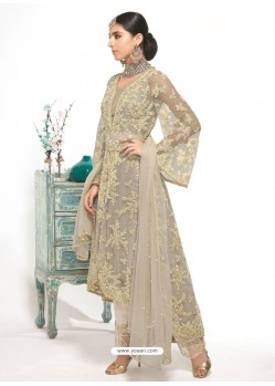 Grey Dyed Net Embroidered Designer Straight Suit