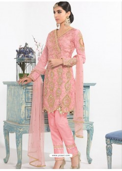 Light Pink Dyed Net Embroidered Designer Straight Suit