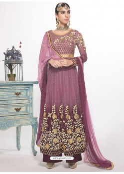 Purple Dyed Net Embroidered Designer Straight Suit