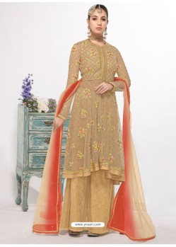 Beige Dyed Net Embroidered Designer Straight Suit