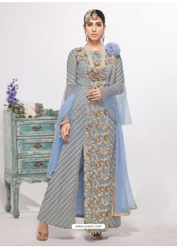 Blue Dyed Net Embroidered Designer Straight Suit