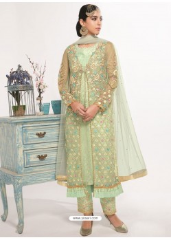 Sea Green Dyed Net Embroidered Designer Straight Suit